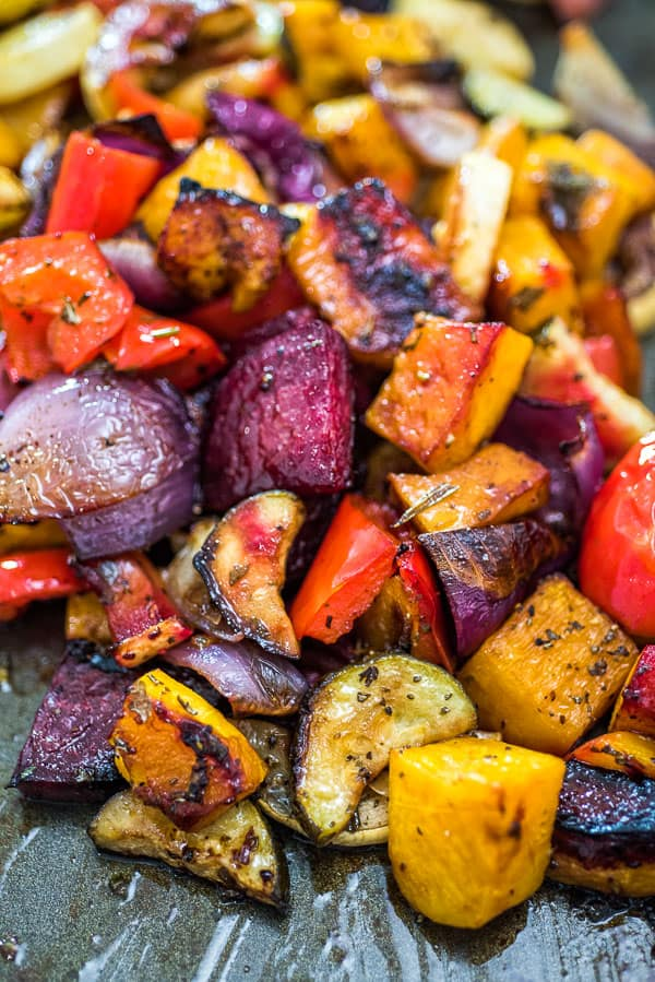 This is the easiest, simplest, and tastiest Oven Roasted Vegetables you'll ever try. Perfectly seasoned and colorful, they are healthy and full of flavor!