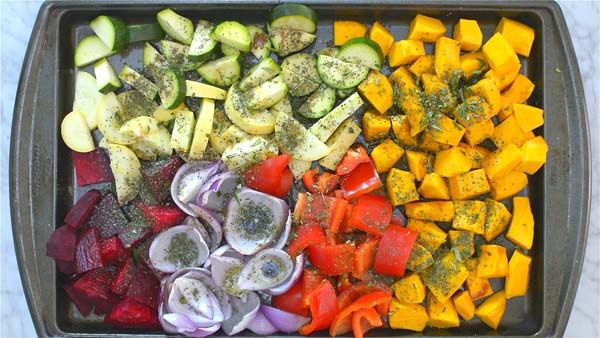 preparing vegetables for roasting