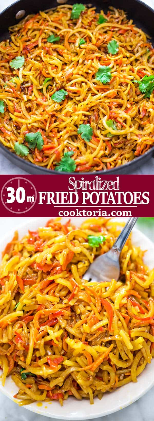 These Spiralized Fried Potatoes are incredible! So simple to make, filling, and flavorful, you are going to crave more. They're also vegan.zucchini noodles. ❤ COOKTORIA.COM #spiralizer #vegan #vegetarian #dinner #lunch