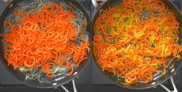 frying spiralized carrots