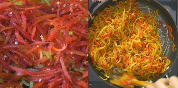 frying spiralized bell peppers