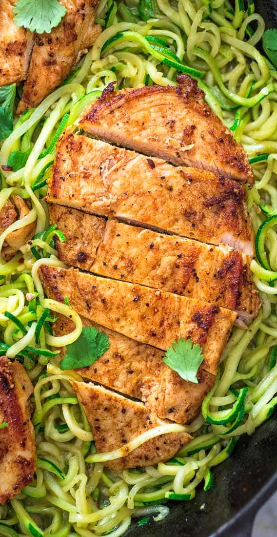 This incredibly delicious Quick & Easy Chicken and Zoodles makes a light, yet filling, dinner. Tender, paprika-seasoned chicken breast pairs so well with succulent, garlic-infused zucchini noodles. ❤ COOKTORIA.COM #zoodles #chicken #dinner #lowcarb #lunch