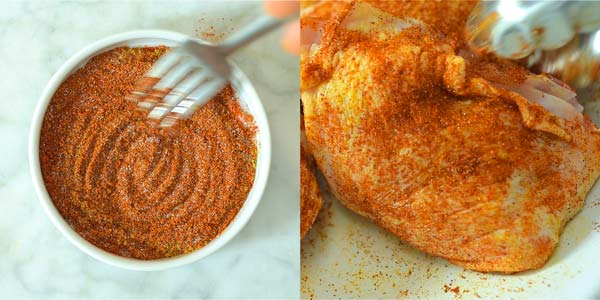 preparing the paprika seasoning for the chicken