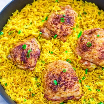 This easy and flavorful Chicken and Yellow Rice Skillet makes a quick and delicious dinner for the whole family. This is a MUST TRY recipe.