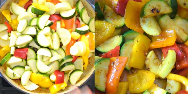 cooking vegetables for shrimp skillet