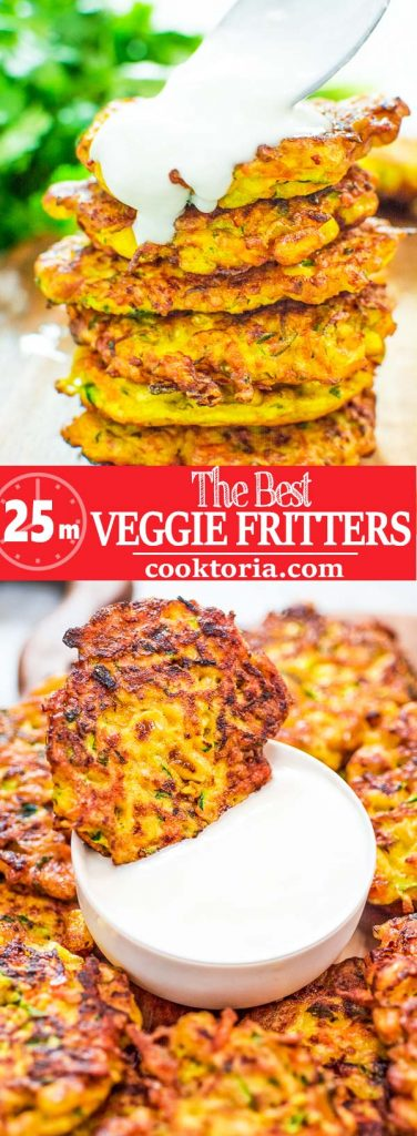 These Vegetable Fritters are truly the best! Made with zucchini, carrot, and corn, they make a great lunch or snack, and you will not be able to stop at one! #vegetables #lunch #fritters #kidfriendly #recipeoftheday #yummyrecipe