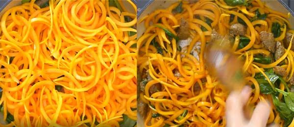 cooking butternut squash noodles