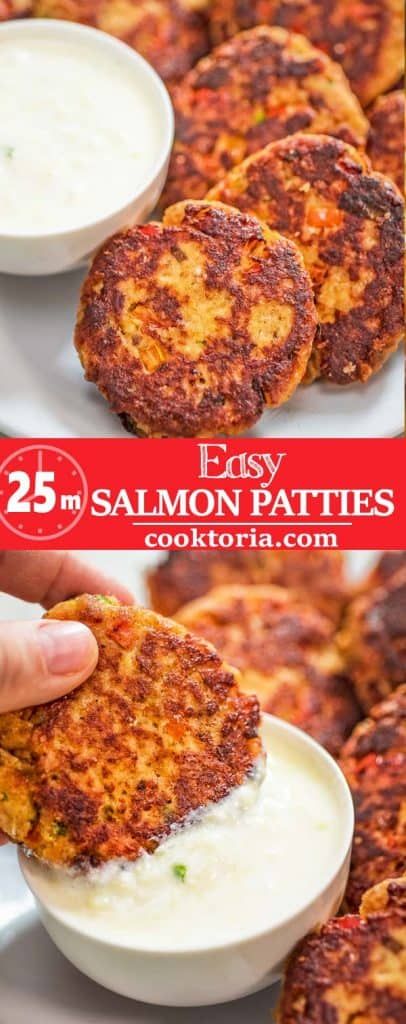 This Easy Salmon Patty recipe is definitely a keeper. Made with canned salmon and simple ingredients, you'll want to make it again and again. #salmon #seafood #lunch #dinner #recipeoftheday
