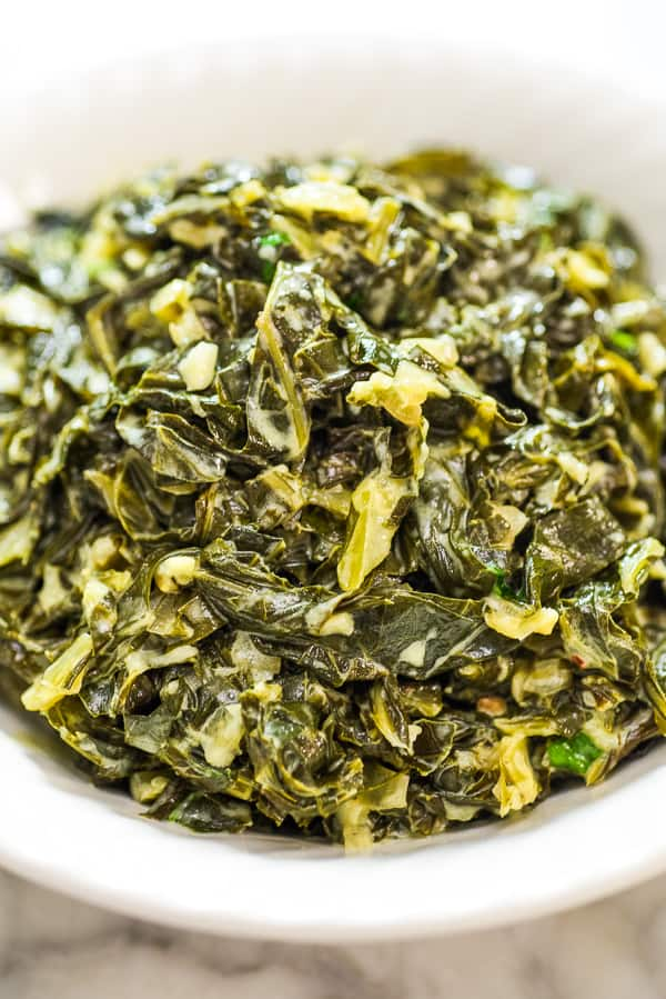 This hearty and comforting Vegetarian Collard Greens recipe is easy to make and very delicious. They make a perfect side dish or can be eaten on their own with some fresh bread.