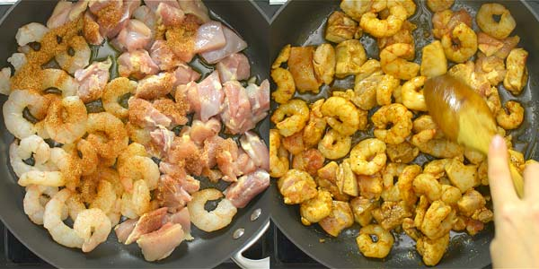 frying chicken and shrimp in the skillet
