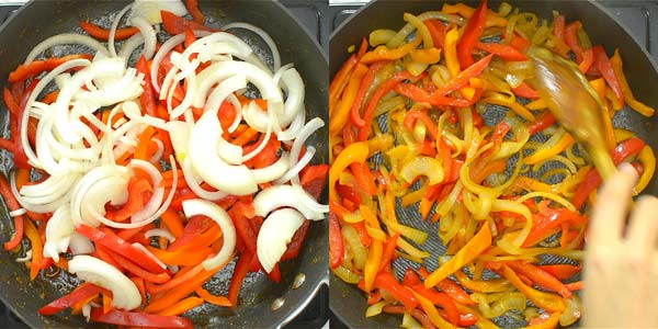 frying bell peppers and onions on the skillet