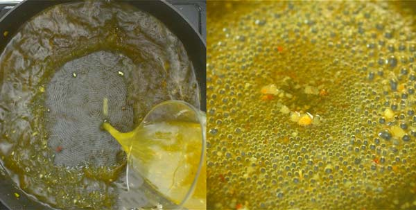 boiling wine and chicken broth