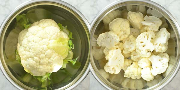 preparing the cauliflower