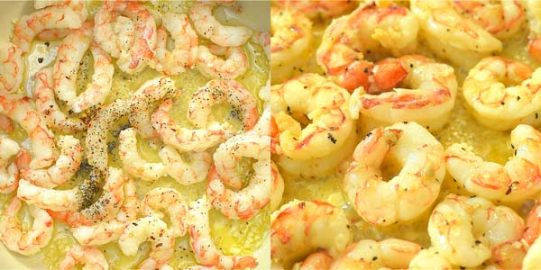 cooking shrimps in garlic wine sauce