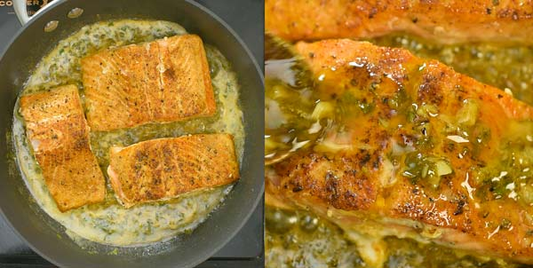 returning the Cajun Salmon to the skillet