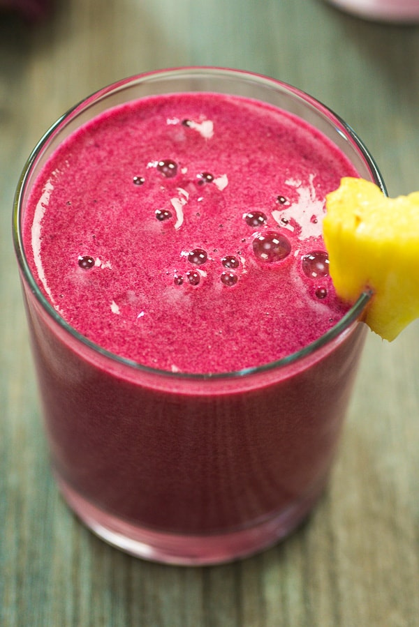 Red Beet Smoothie - A delicious and healthy smoothie made with bananas, beets, pineapple and yogurt. Perfect for breakfast, or as an afternoon treat.