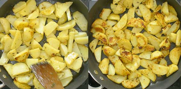 frying the skillet potatoes until crust forms