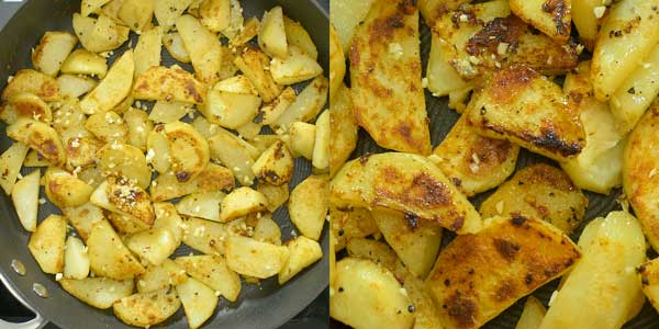 adding the garlic to skillet potatoes