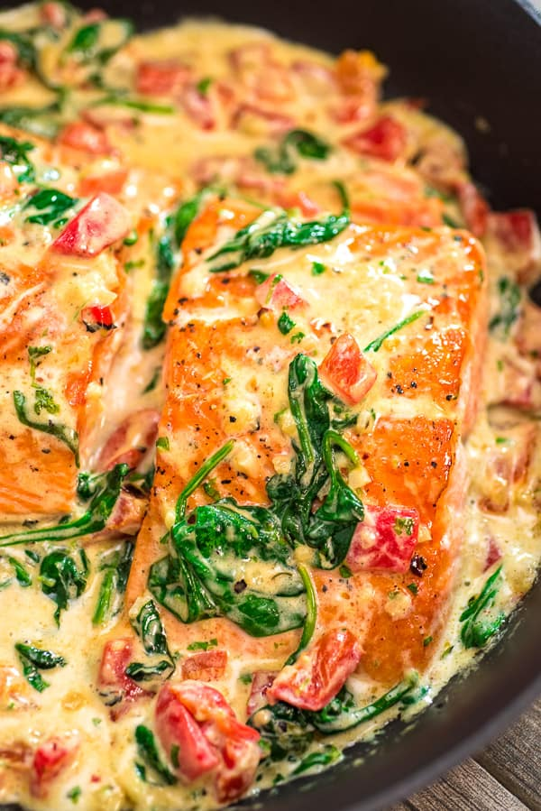 This Salmon in Roasted Pepper Sauce makes an absolutely scrumptious meal, worthy of a special occasion. Make this easy one-pan dinner in just 20 minutes!