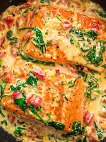 This Salmon in Roasted Pepper Sauce makes absolutely scrumptious meal, worthy a special occasion. Make this easy one-pan dinner in just 20 minutes!