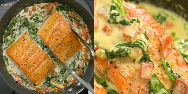 adding salmon to the cream sauce