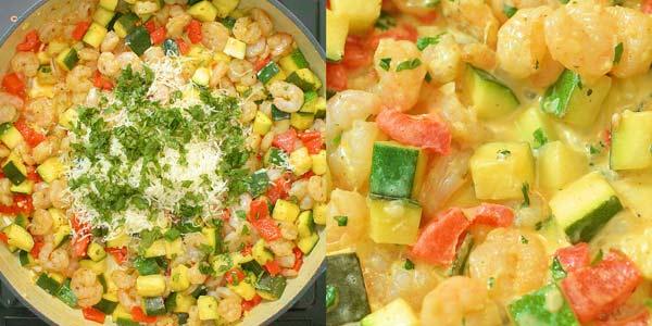adding cream and finishing shrimp and zucchini skillet