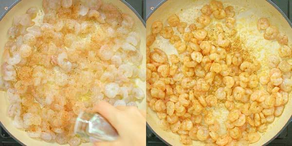 cooking shrimps with Cajun Seasoning