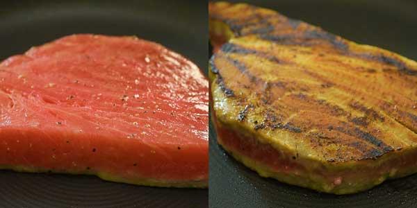 searing ahi tuna steak on the skillet