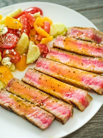 Ahi Tuna Steak – an easy, yet elegant, dinner worthy of the most special occasion! Made with Maple-Mustard Sauce.