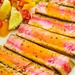 Ahi Tuna Steak – an easy, yet elegant, dinner worthy of the most special occasion! Made with Maple-Mustard Sauce. #tuna #fish #seafood #dinner #lunch #keto #ketodiet #ketorecipe #whole30 #lowcarb #recipeoftheday