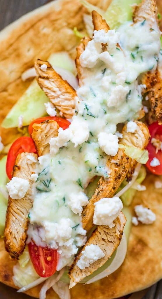 Chicken Gyro – an easy to make sandwich, great for both lunch and dinner. Served with fresh vegetables and tzatziki sauce.