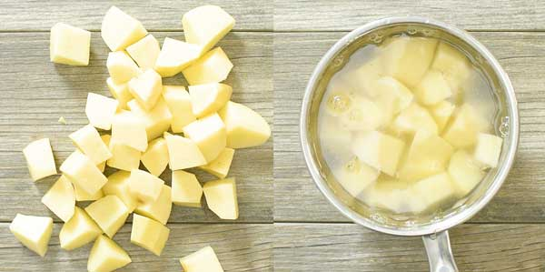 peeling and cutting potatoes for potato tacos