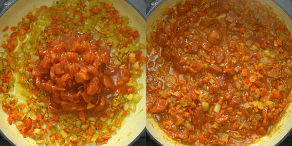 adding diced tomatoes to the cooked onions and spices