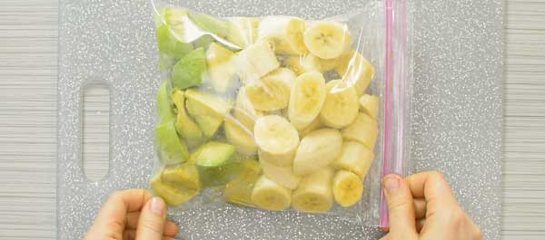 avocados and bananas in a Ziploc bag