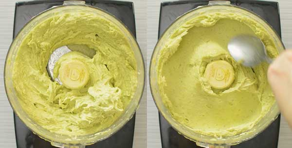 avocado ice cream in a food processor