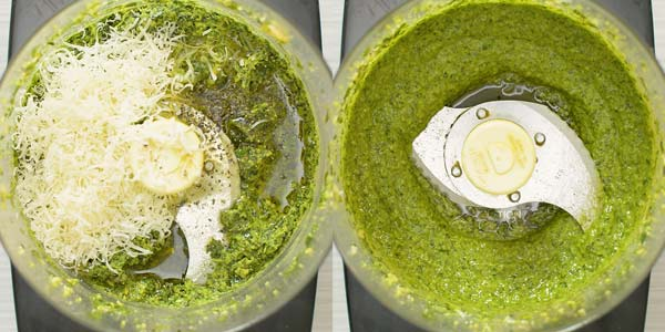 making homemade pesto in a food processor