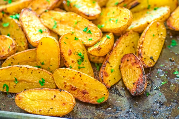 fingerling potatoes on a baking tray