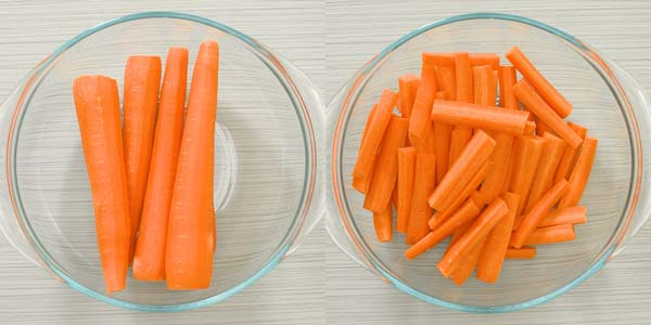 cutting the carrots into sticks