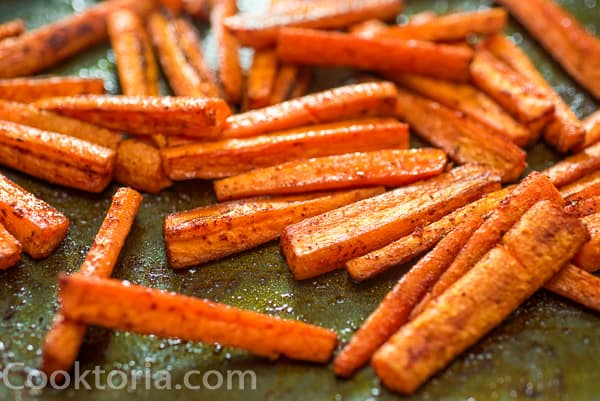 Carrot Fries on a baking sheet