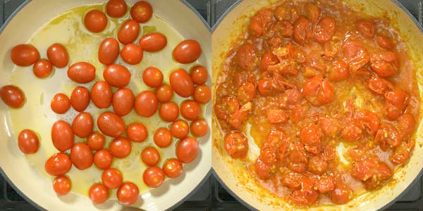 Cooking tomatoes with olive oil in the skillet
