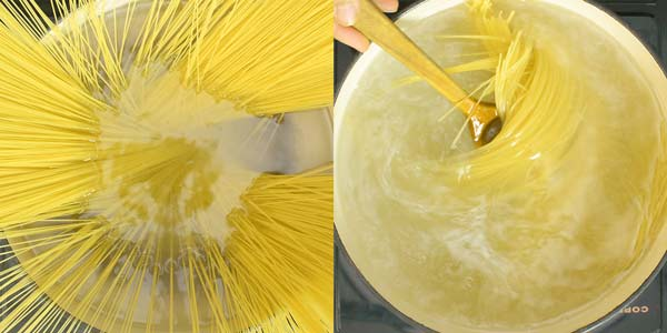 boiling angel hair pasta in water