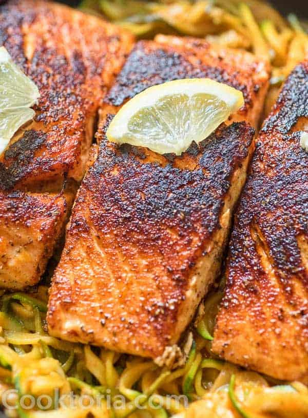Blackened Salmon on a bed of zucchini noodles