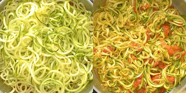 cooking zoodles in tomato sauce