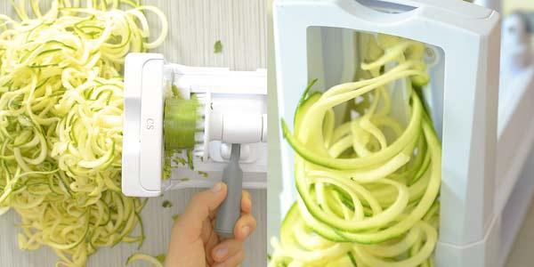 spiralizing zucchini noodles