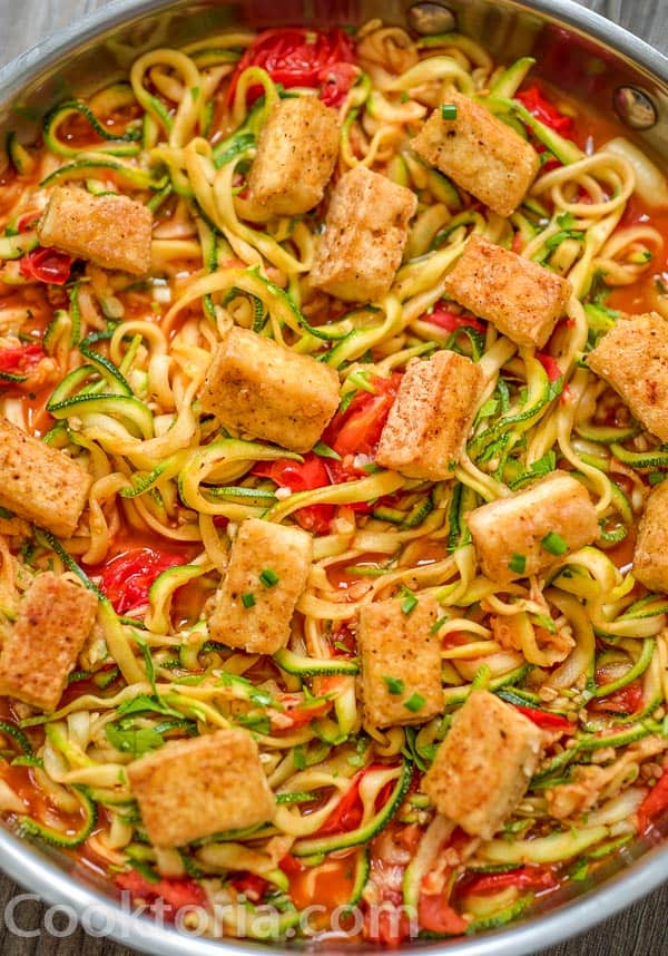 Fried Tofu on top of zucchini noodles