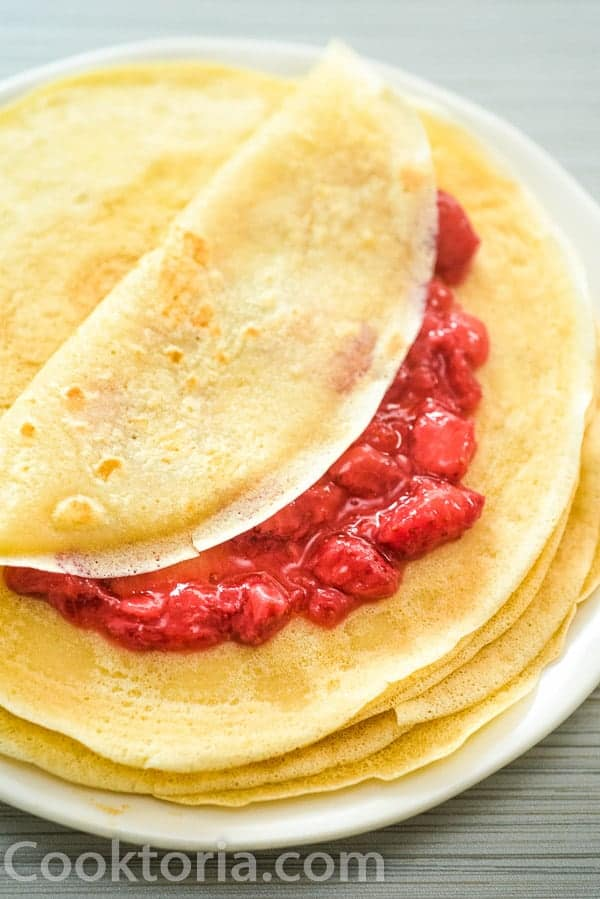 vegan crepes stuffed with strawberry jam