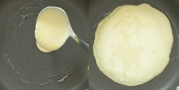 greasing the pan and pouring crepe batter