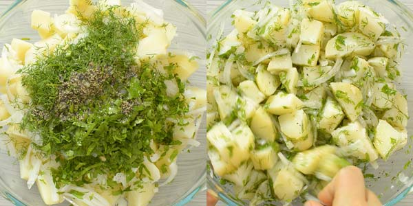 mixing potato salad in a bowl