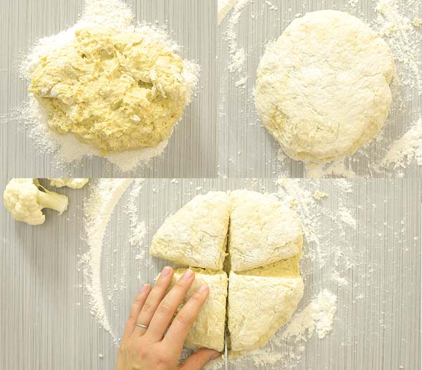 dividing the dough into four pieces