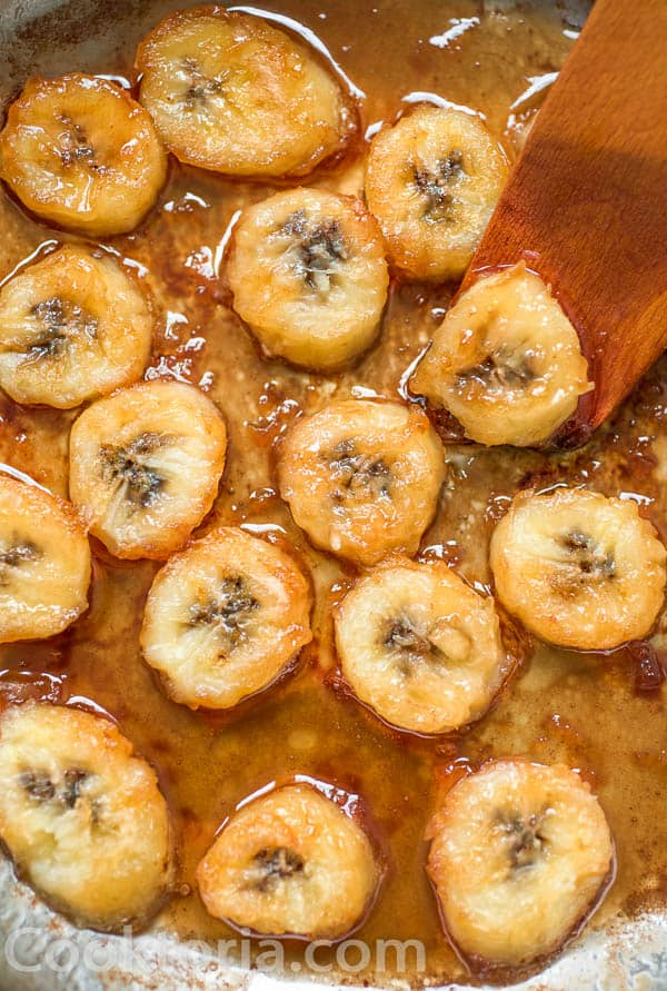 Fried Bananas in a skillet